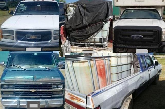 Sedena y SSP aseguran nueve vehículos usados para huachicol