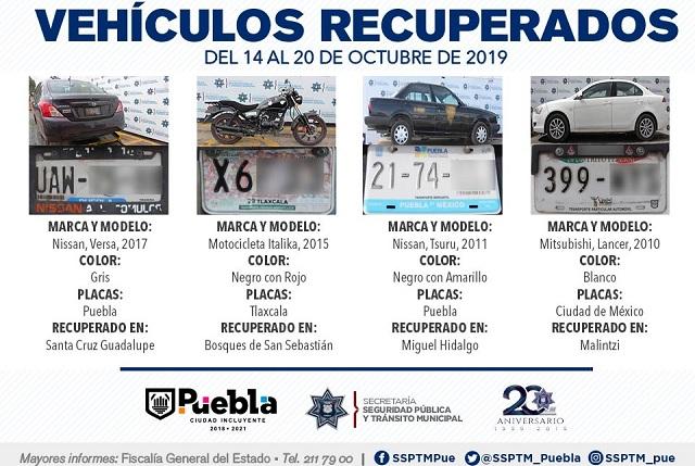 Recupera policía de Puebla ocho vehículos robados