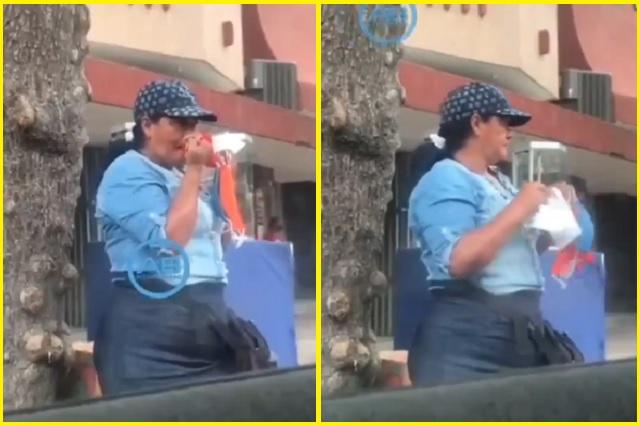 Mujer es captada limpiando su nariz con cubrebocas que vendía