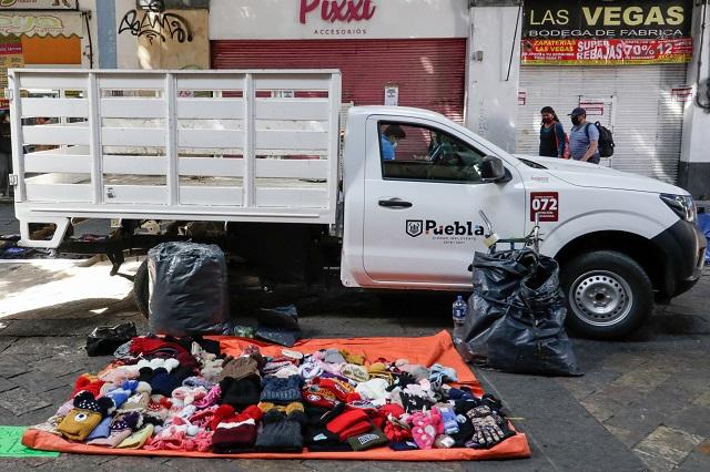 Va operativo municipal contra ambulantes en centro de Puebla