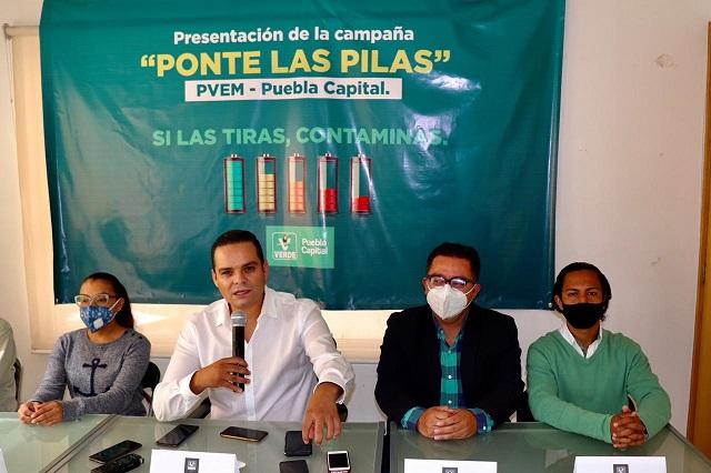 Va PVEM contra polución por 2.6 mil toneladas de pilas en Puebla