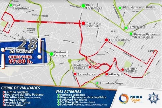Habrá cierres viales durante Maratón de Puebla este domingo