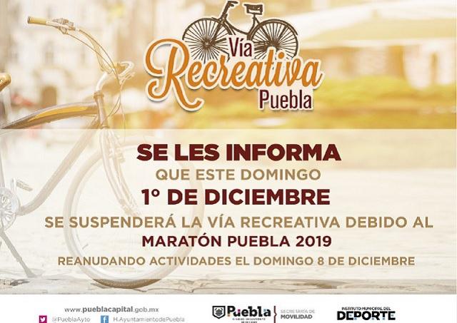 Anuncian suspensión de actividades en Vía Recreativa Puebla