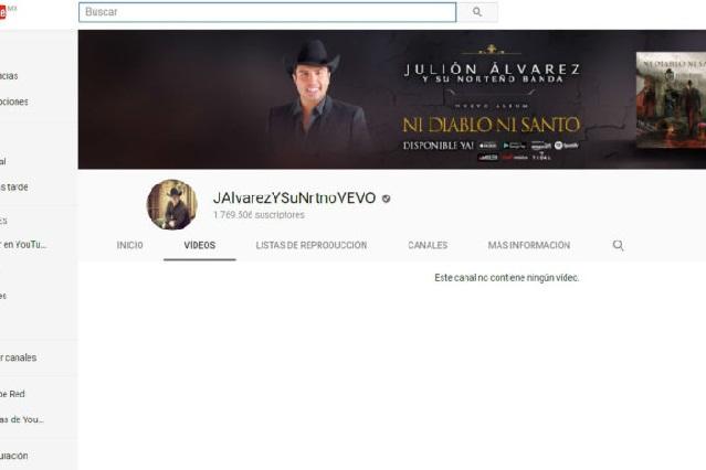 Eliminan a Julión Álvarez de YouTube y Spotify; su página desaparece
