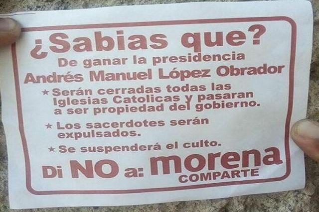 Volantes en contra de AMLO intentan asustar a católicos
