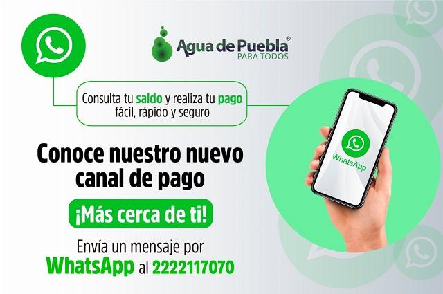 A través de Whats App, pago del agua en Puebla, sin salir de casa