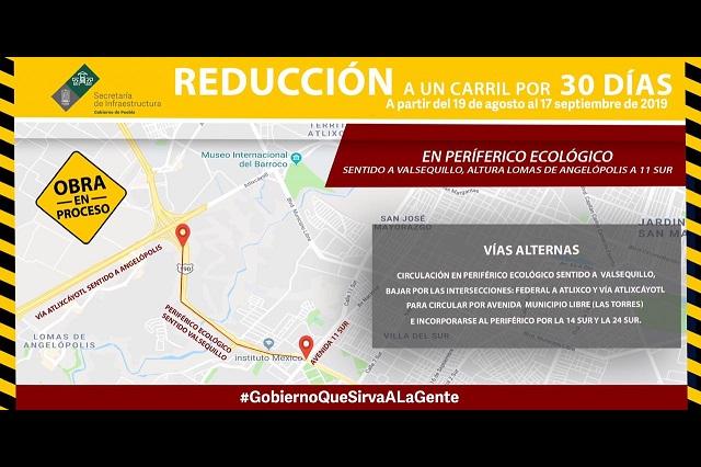 Cierran carriles en el Periférico Ecológico de Lomas a la 11 sur