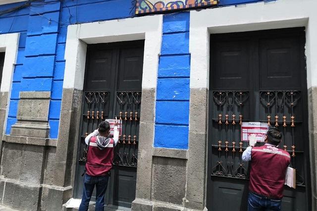 Clausuras en El Parián, bares y salón de fiestas en Puebla capital